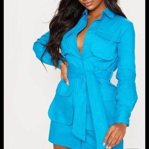 Blue Utility Tie Waist Shirt Dress